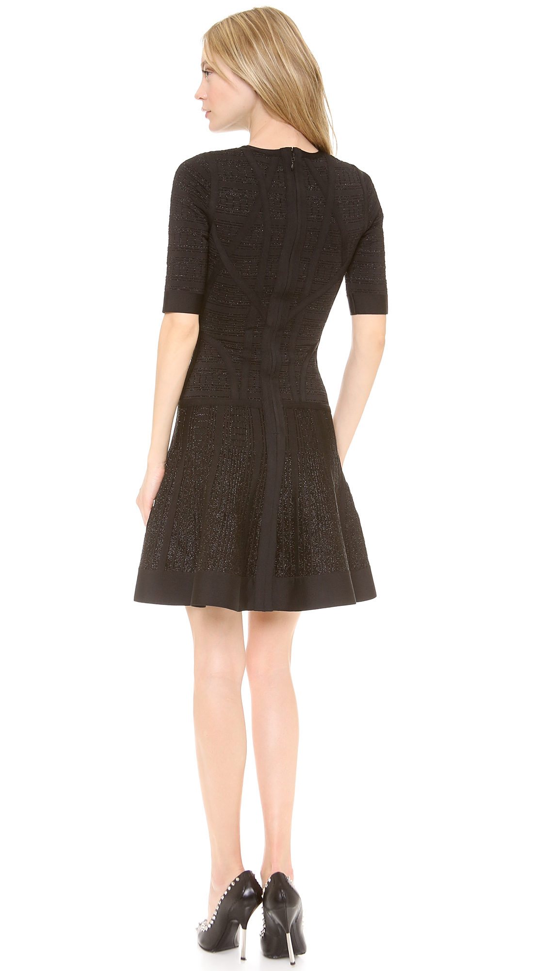Lyst Herv 233 L 233 Ger Clara Drop Waist Dress In Black