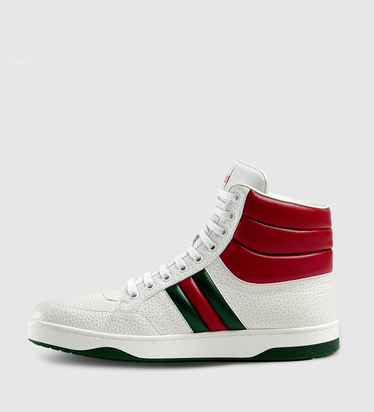 lyst gucci contrast padded leather high top sneaker in. Black Bedroom Furniture Sets. Home Design Ideas