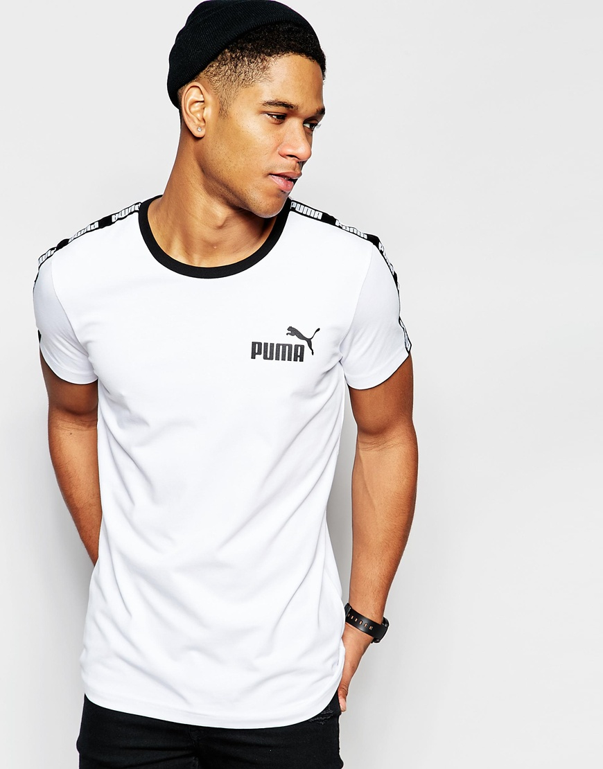 lyst puma tshirt with taping in white for men