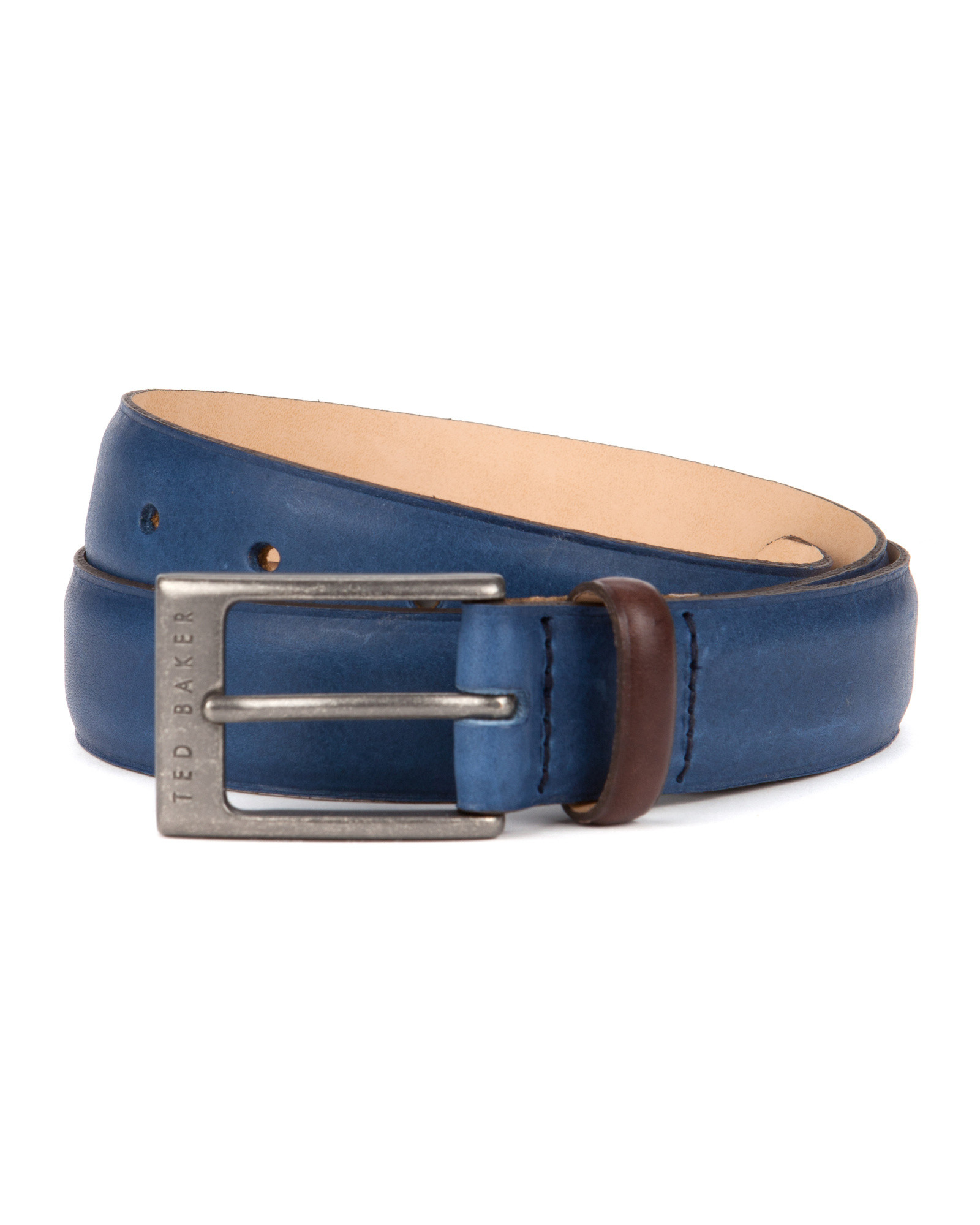 ted baker color block leather belt in blue for lyst
