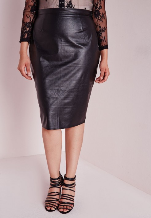 f4486df9839 Lyst - Missguided Plus Size Faux Leather Midi Skirt Black in Black