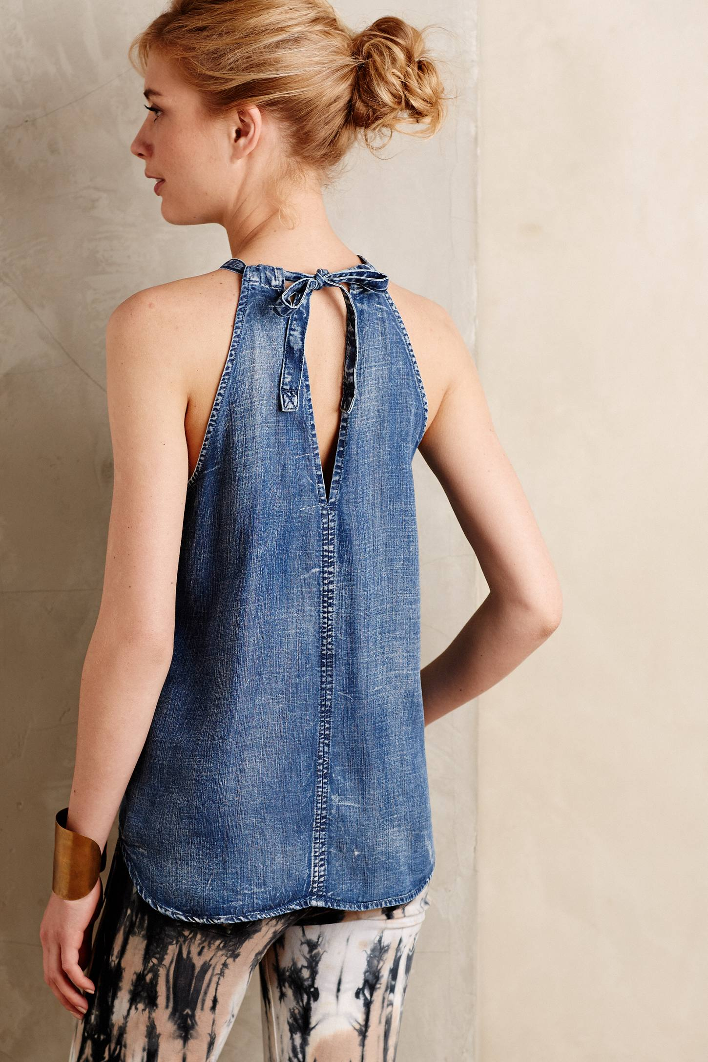 Cloth u0026 stone Chambray Halter Tank in Blue | Lyst