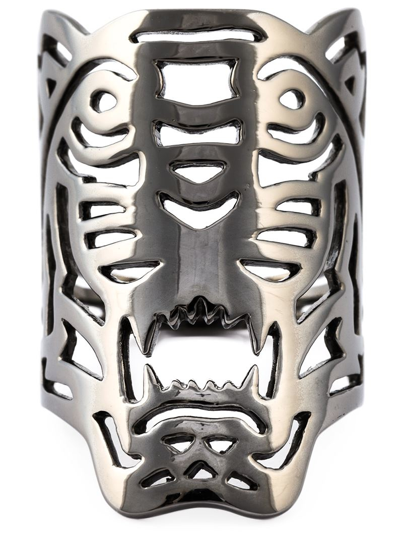 kenzo big tiger ring in silver metallic lyst