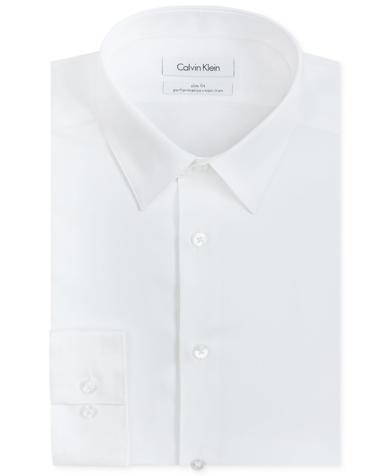Calvin klein steel men 39 s slim fit non iron performance for White non iron dress shirts