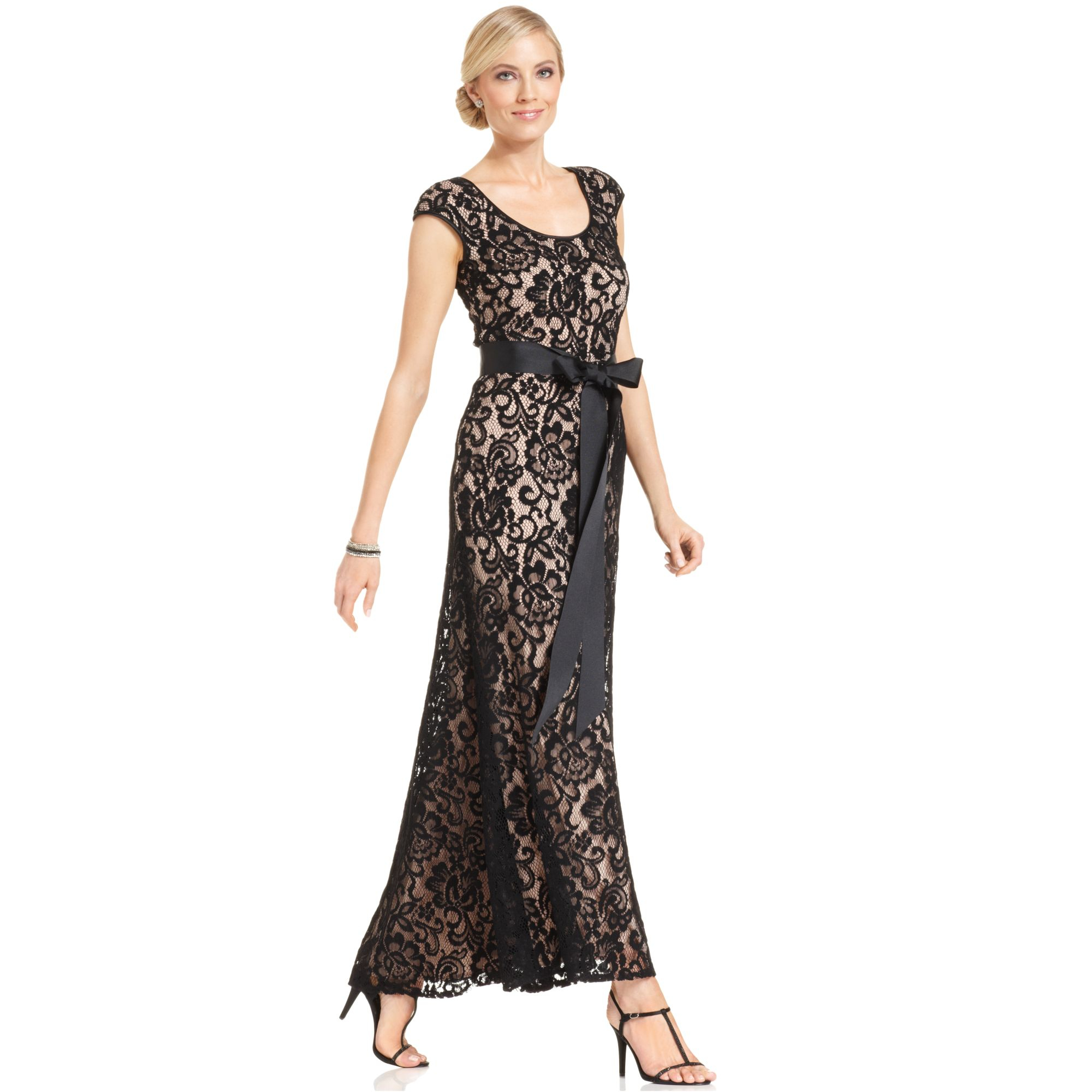 dde653f3 Lyst Betsy Adam Capsleeve Belted Lace Gown In Black