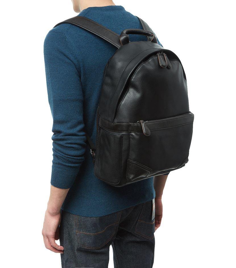 lyst ted baker uzzano leather backpack in black for men. Black Bedroom Furniture Sets. Home Design Ideas