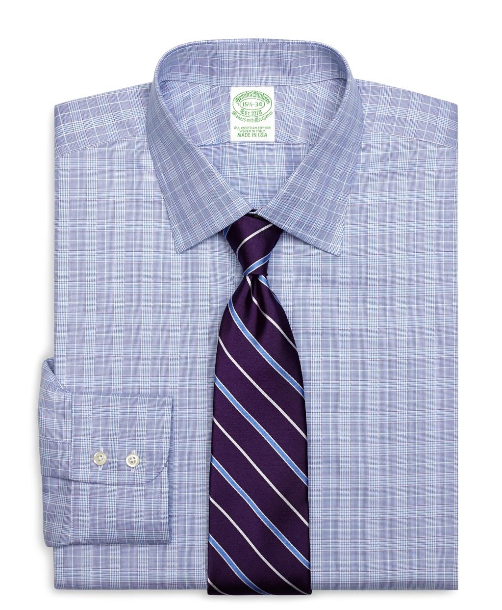 Brooks Brothers Extra Slim Fit Glen Plaid Dress Shirt In
