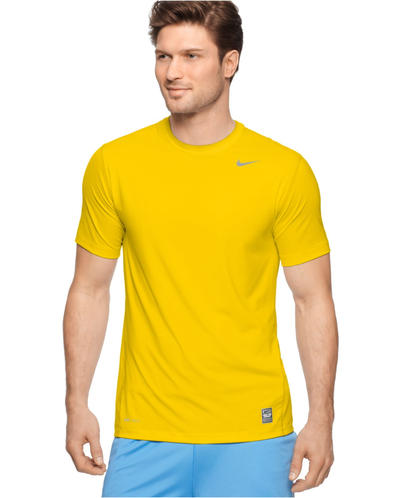 Lyst nike pro combat dri fit t shirts in yellow for men for Dri fit dress shirts