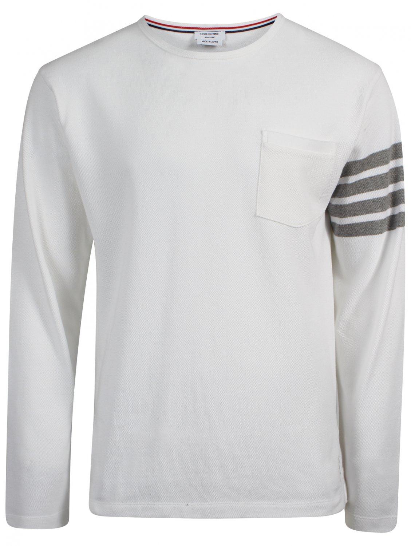 Thom browne white long sleeved pocket t shirt in white for for Thom browne white shirt