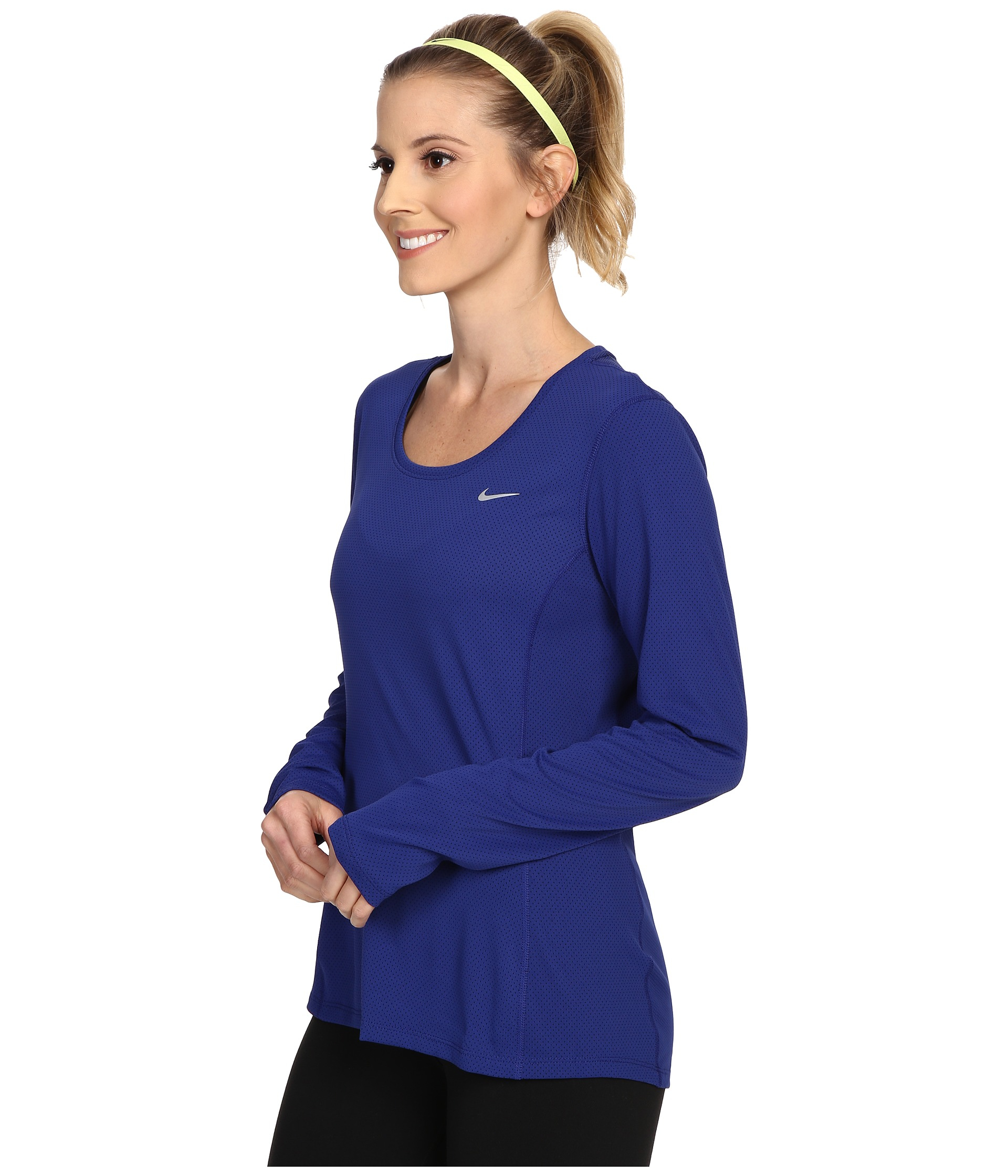 restaurant bar du port de jordan - Nike Dri-fit? Contour Long Sleeve in Blue | Lyst