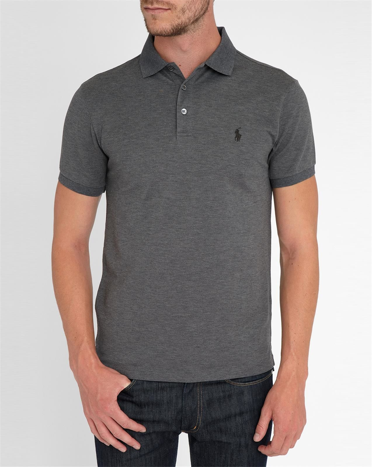 polo ralph lauren charcoal stretch slim fit polo shirt in gray for men grey lyst. Black Bedroom Furniture Sets. Home Design Ideas