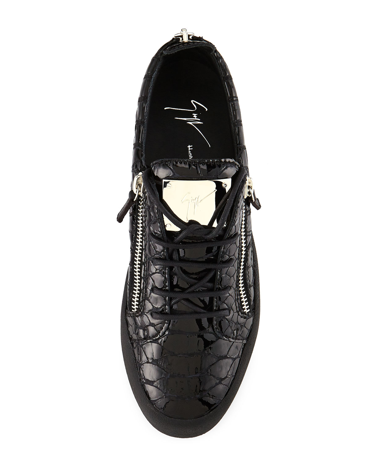 76e0d72796c1d Giuseppe Zanotti Crocodile-Embossed Low-Top Sneakers in Black for ...