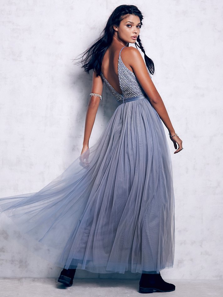 Free People Plunge V Tulle Maxi Dress In Blue Lyst