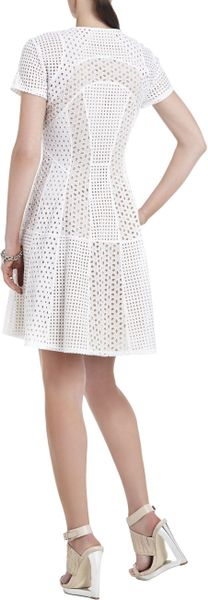 Bcbgmaxazria Macy Blockedlace Flared Skirt Dress In White