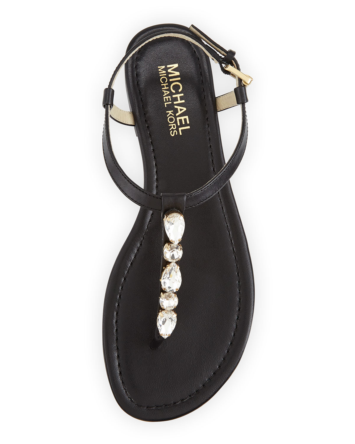 44a16fdc7e17 MICHAEL Michael Kors Jayden Embellished Thong Sandals in Black - Lyst