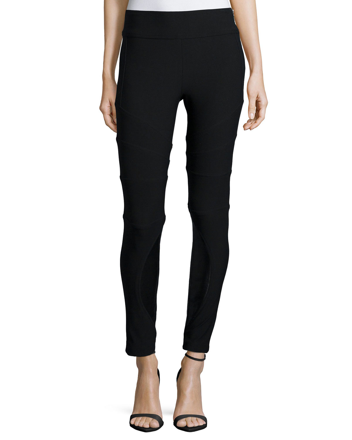 Available in Black and Stone Great Stretch Skinny Leg Zip Up Made in USA 74% Polyester 23% Rayon 3% Spandex.