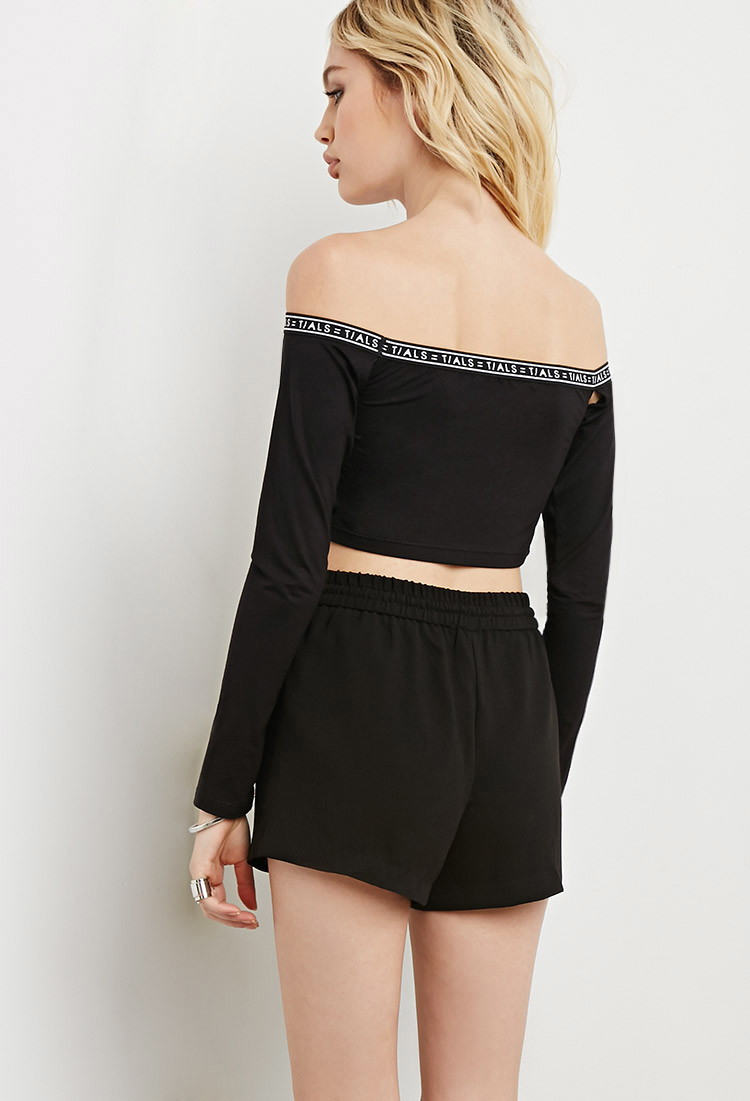 fb23f78929e7e Lyst - Forever 21 This Is A Love Song Off-the-shoulder Crop Top in Black
