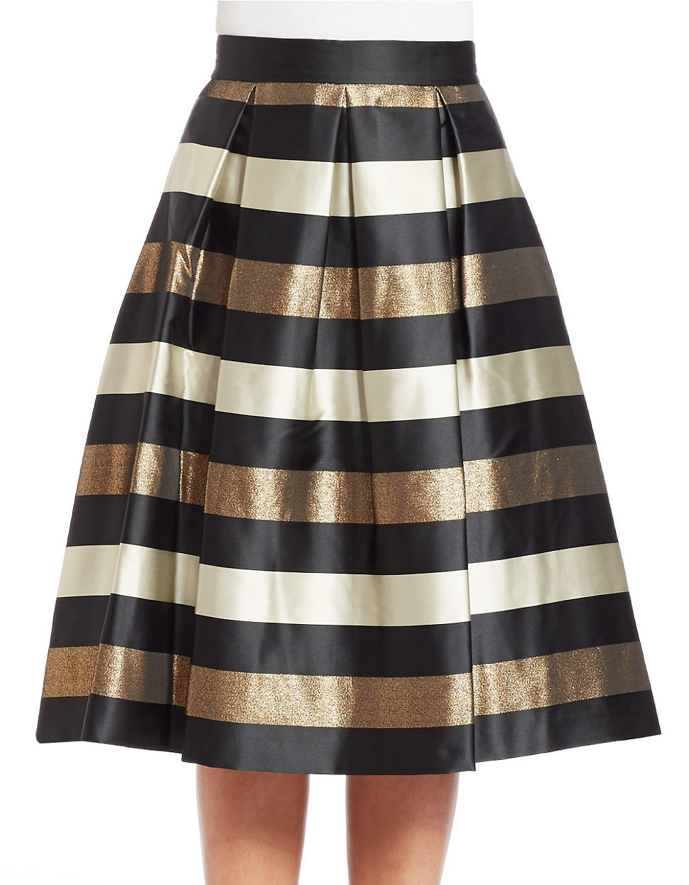Eliza j Pleated Striped Ball Skirt in Metallic | Lyst