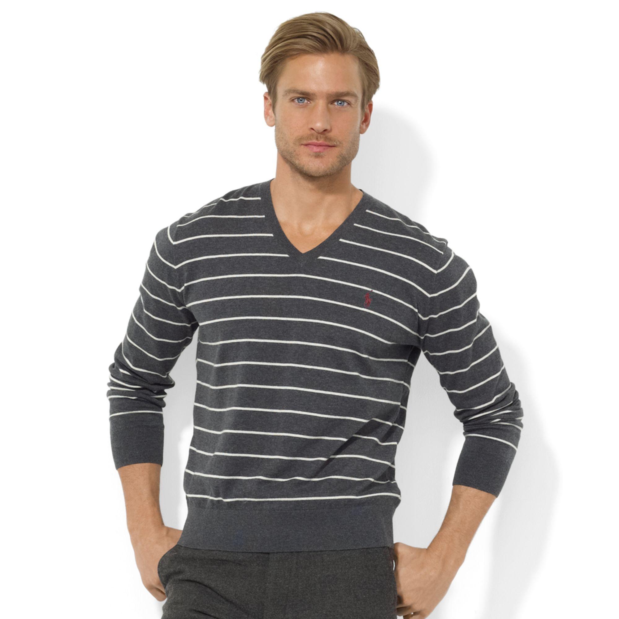 Ralph lauren Striped Vneck Pima Cotton Sweater in Gray for Men (Windsor) | Lyst