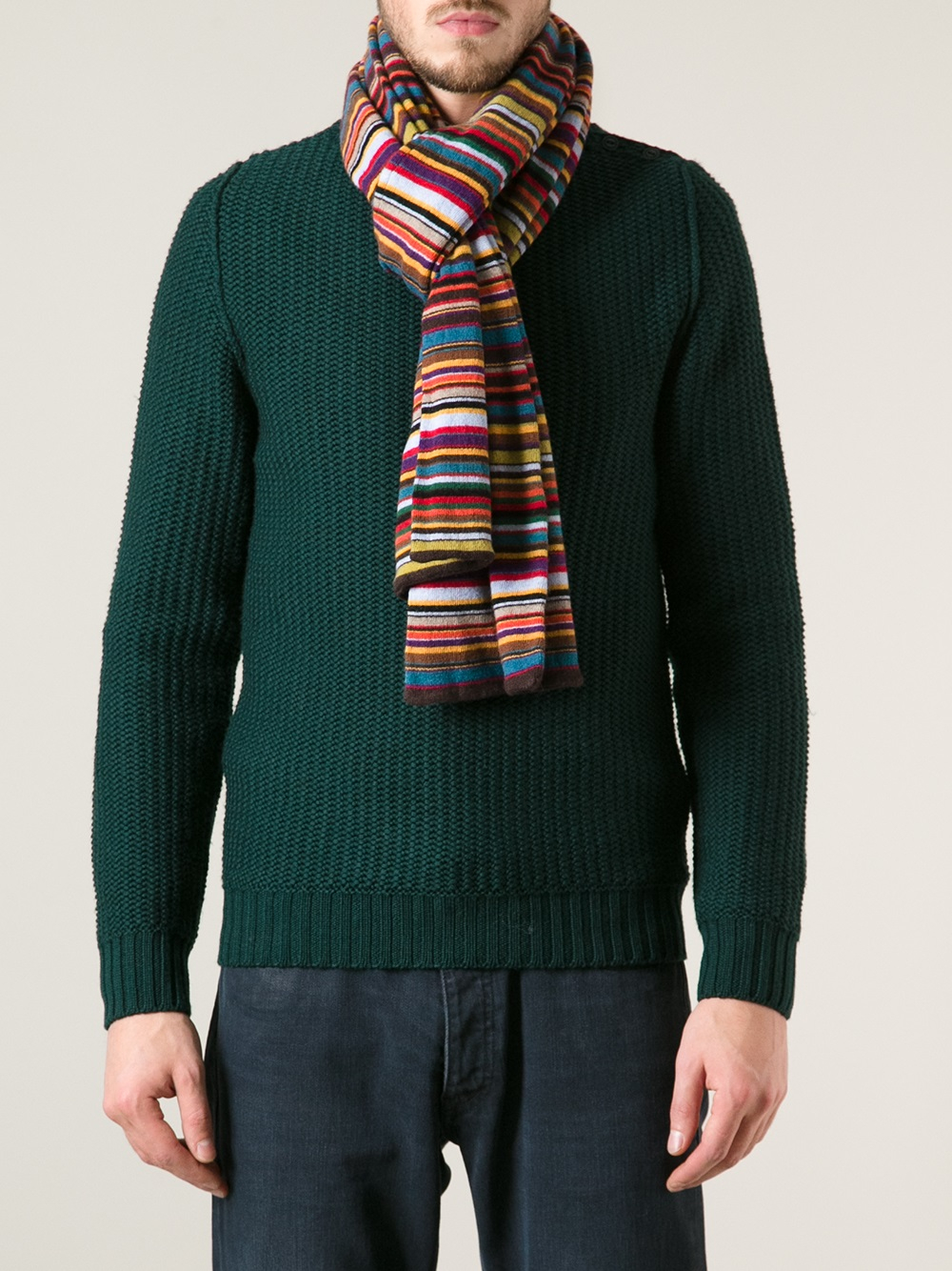 paul smith striped scarf for lyst