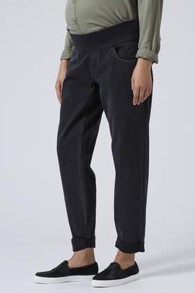 Topshop Maternity Moto Black Mom Jeans in Black | Lyst