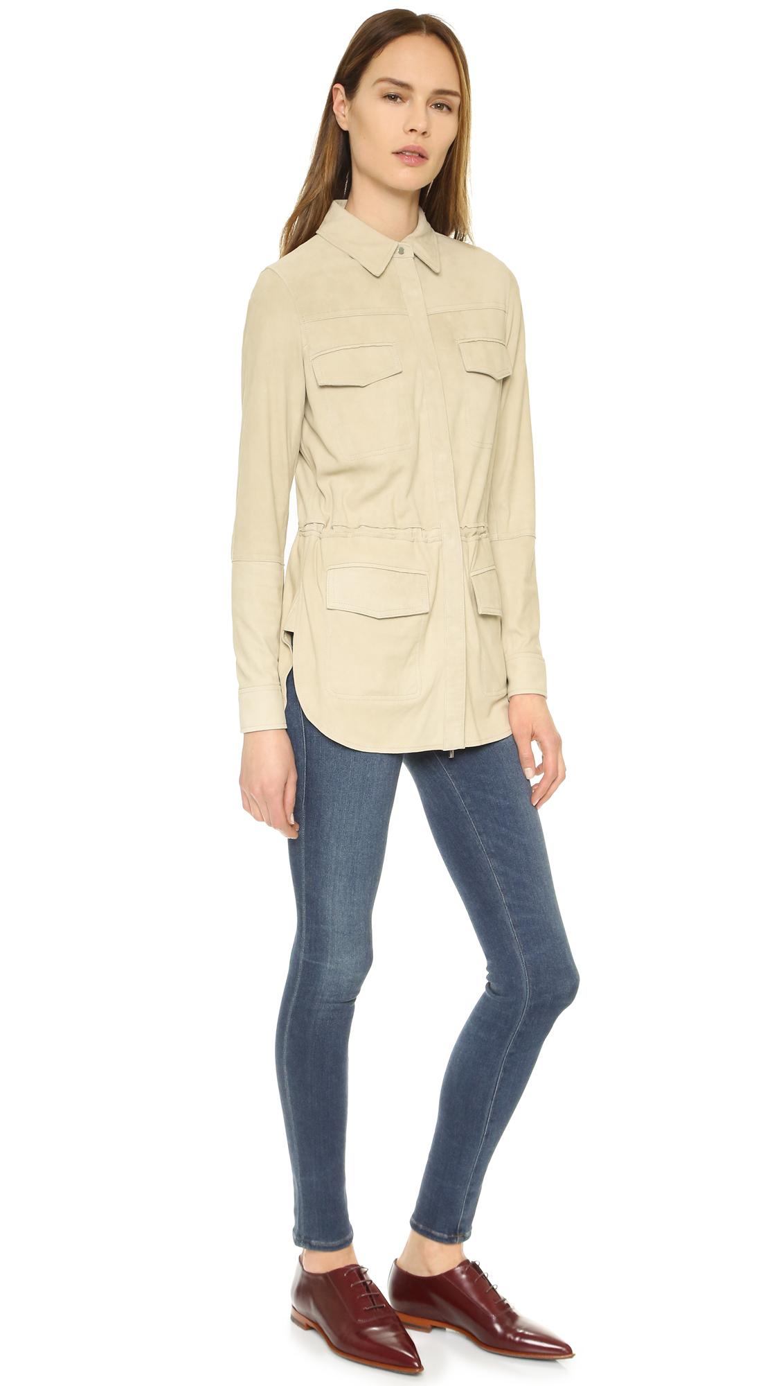 Safari Shirt Cognac Heels: Vince Nubuck Safari Shirt Jacket In Natural