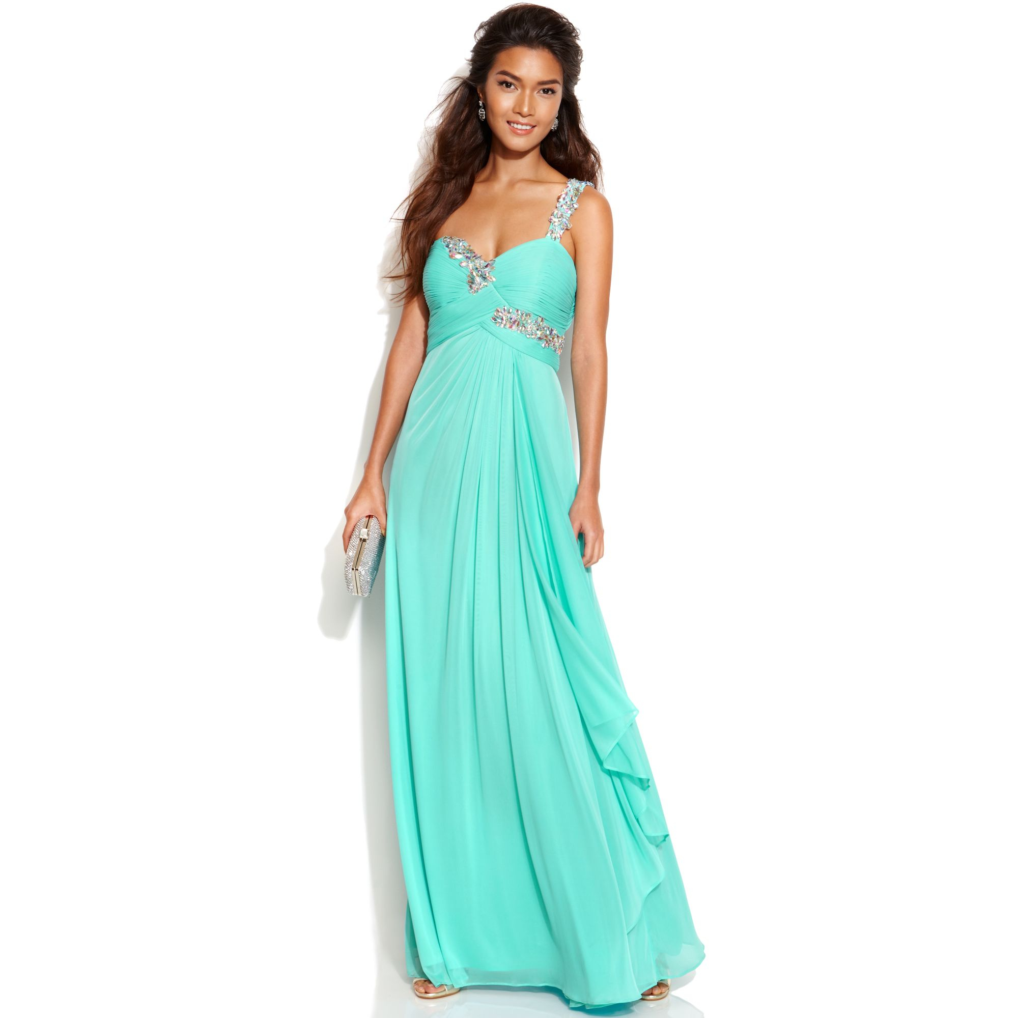 Lyst - Xscape One Shoulder Jewel Trim Gown in Green