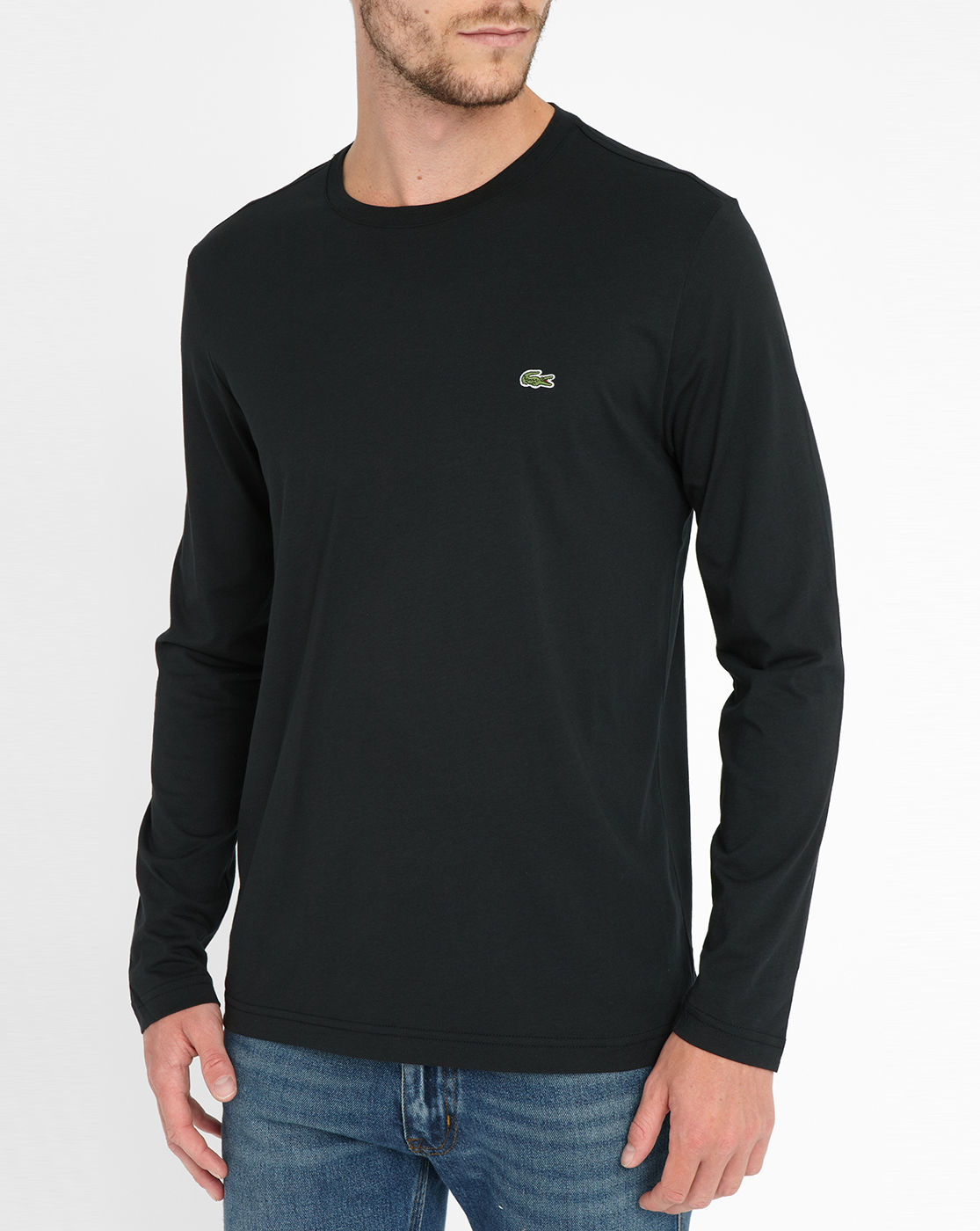 Lacoste black long sleeve t shirt in black for men lyst for Long sleeve black tee shirts