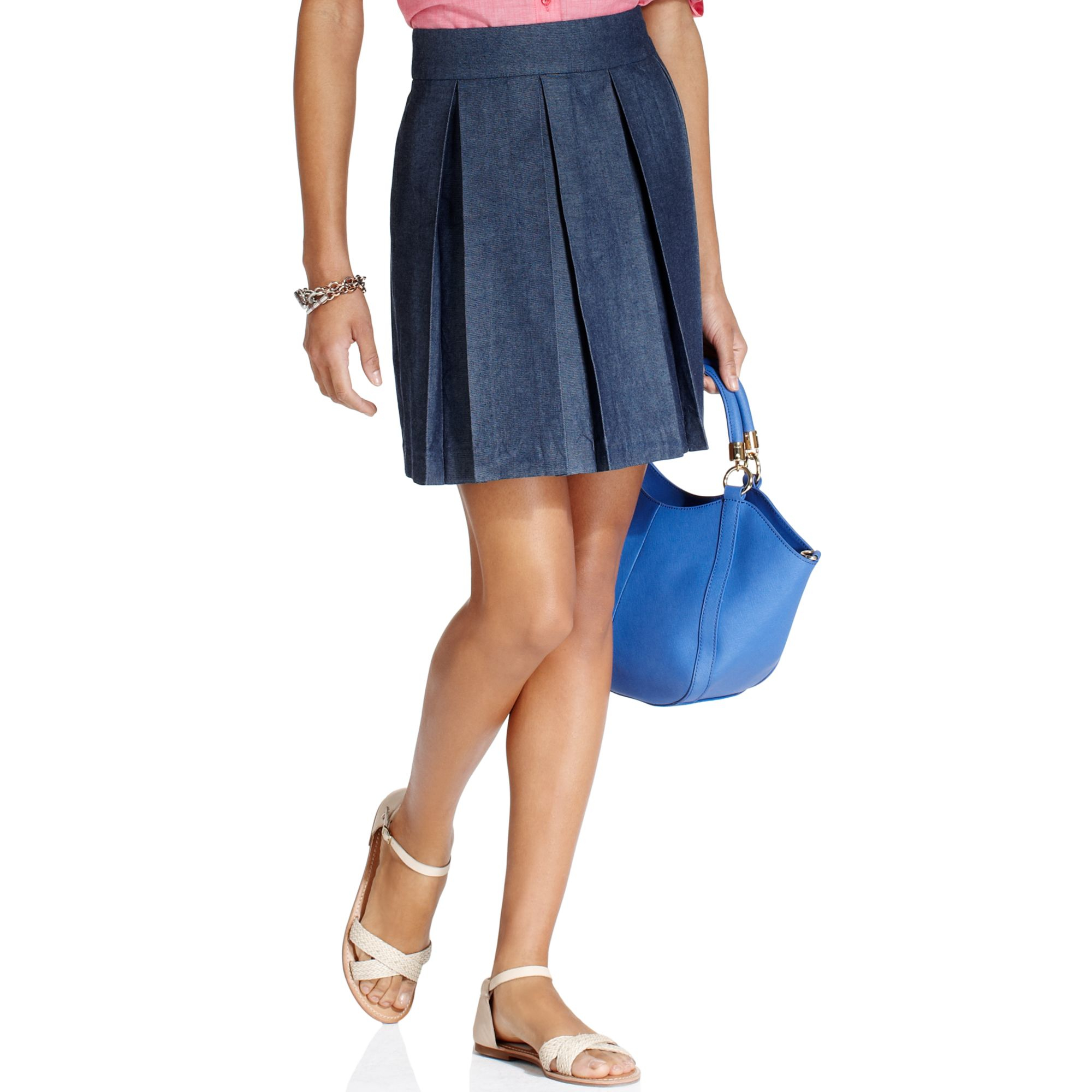 Tommy hilfiger Pleated Denim Skirt in Blue | Lyst