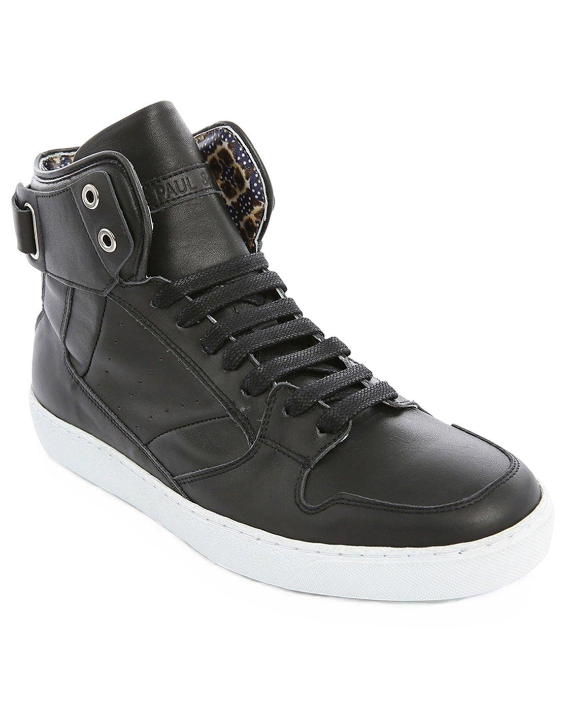 paul joe hoop black high top leather sneakers in black for men lyst. Black Bedroom Furniture Sets. Home Design Ideas