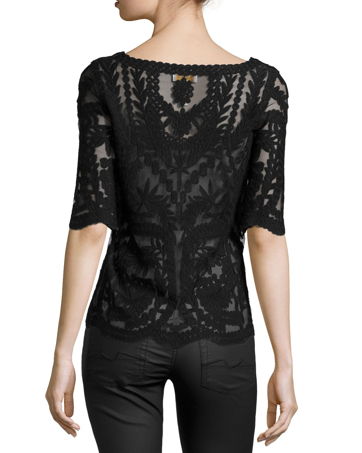 Laundry By Shelli Segal Mesh Amp Lace Boat Neck Top In Black