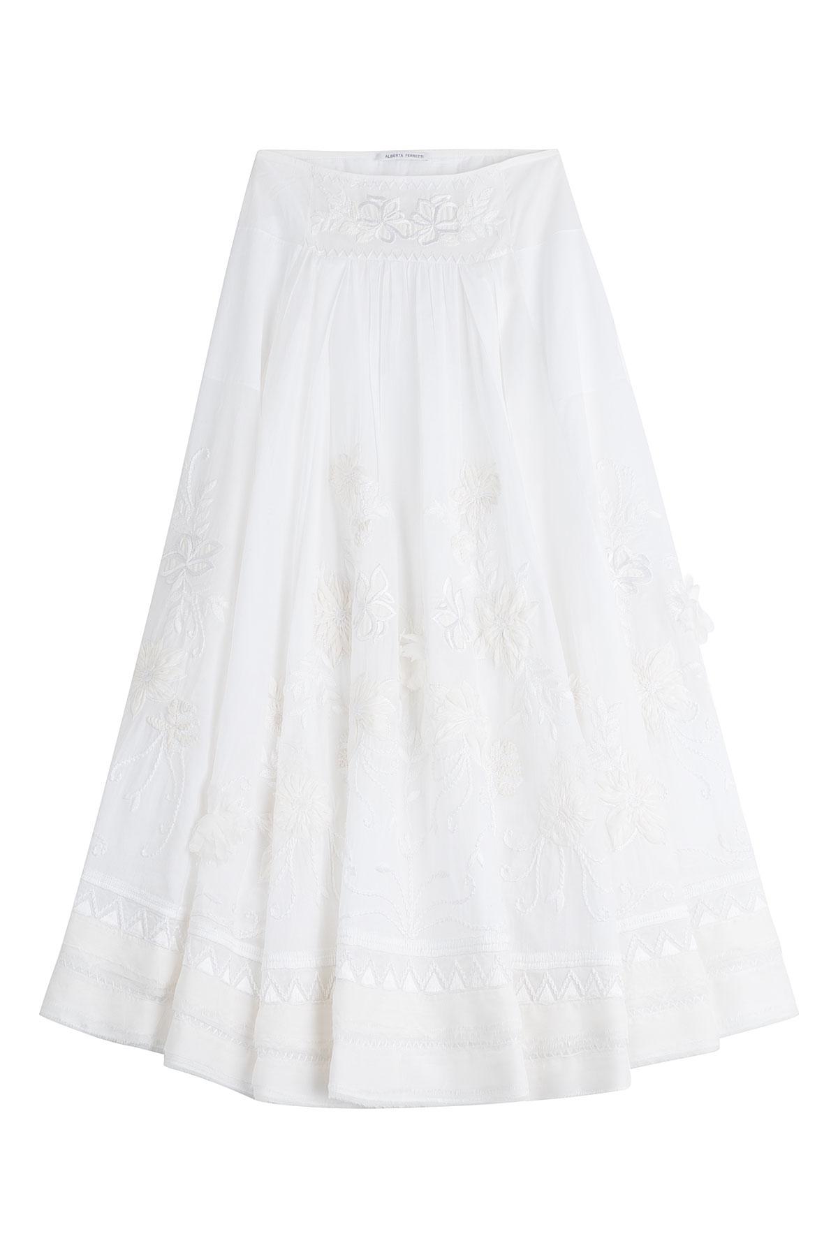 alberta ferretti embroidered cotton maxi skirt white in