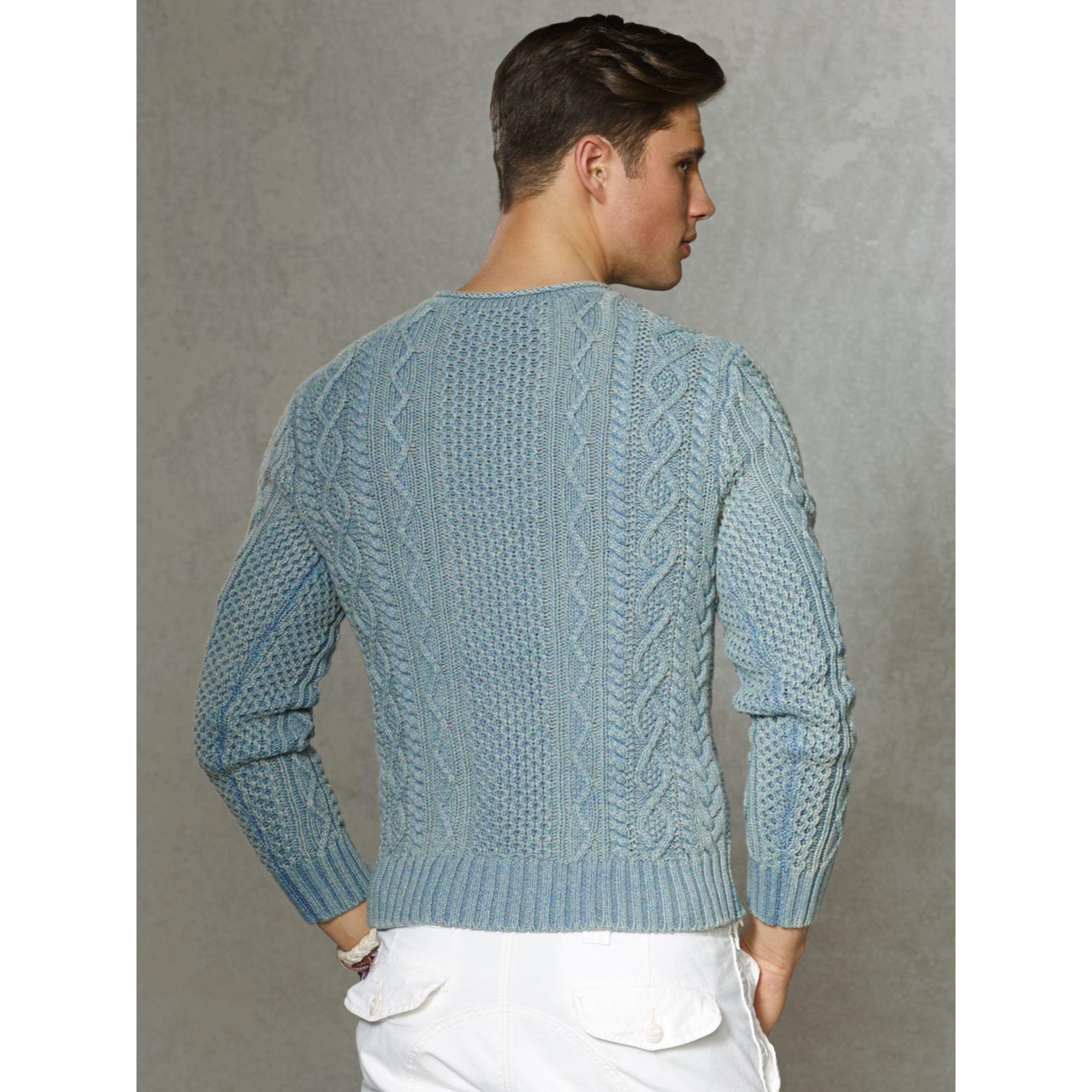 d79eac823eb ... cheap lyst polo ralph lauren indigo aran roll neck sweater in blue for  men a1f9f 8ef94