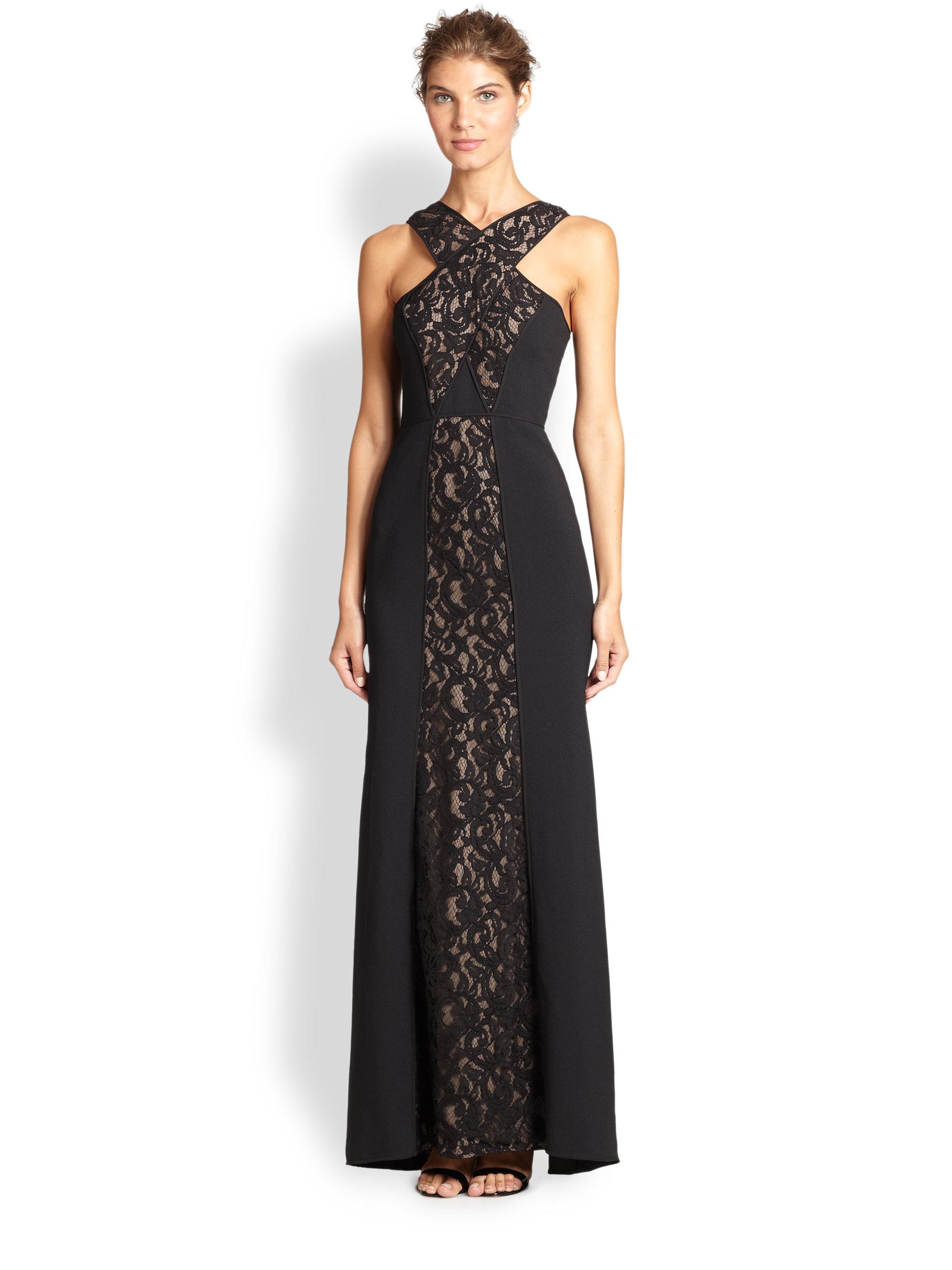 Lyst - Bcbgmaxazria Lacepaneled Halter Gown in Black