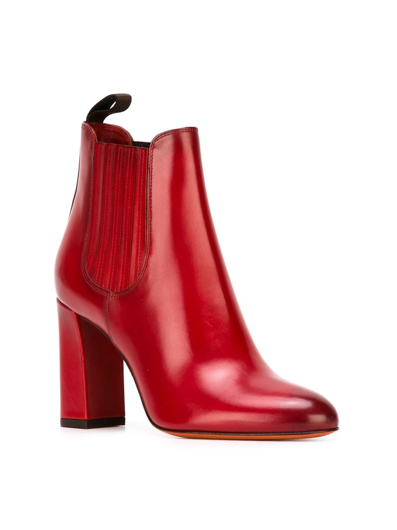 Lyst Santoni Ankle Boots In Red