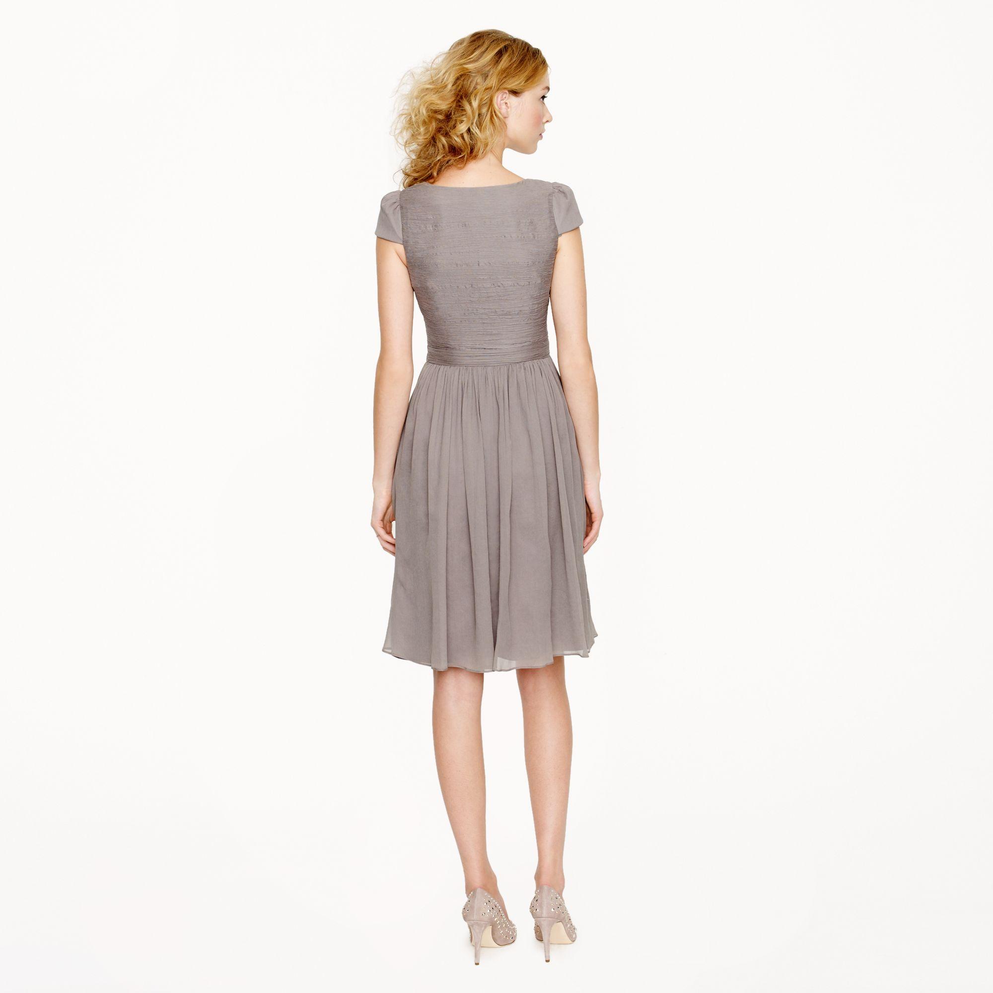 J Crew Mirabelle Dress In Silk Chiffon In Gray Graphite