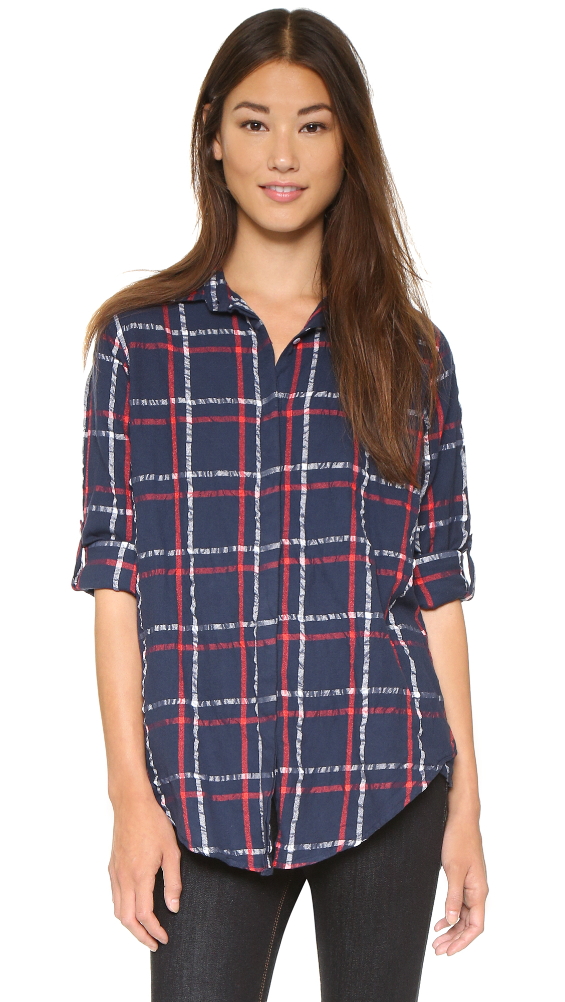 Lyst Sundry Oversized Flannel Check Shirt Midnight In Blue