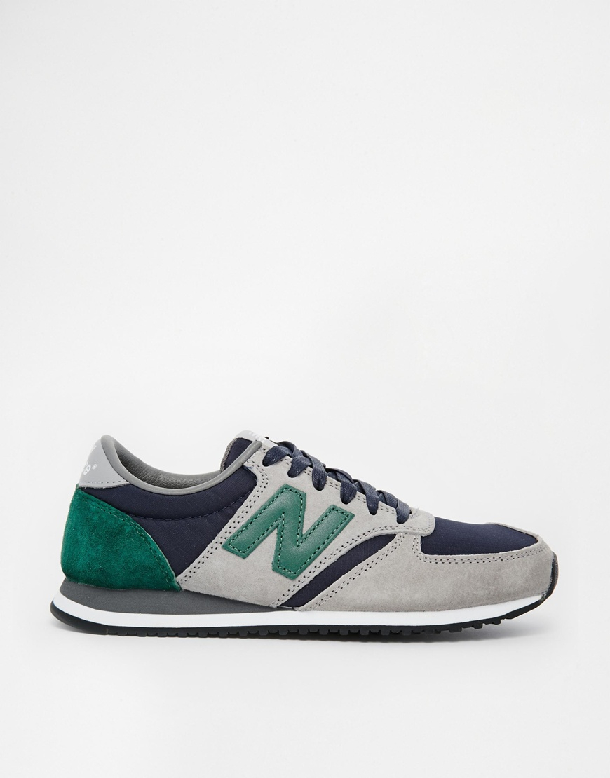 new balance 420 suedemesh gray and green sneakers in gray lyst. Black Bedroom Furniture Sets. Home Design Ideas