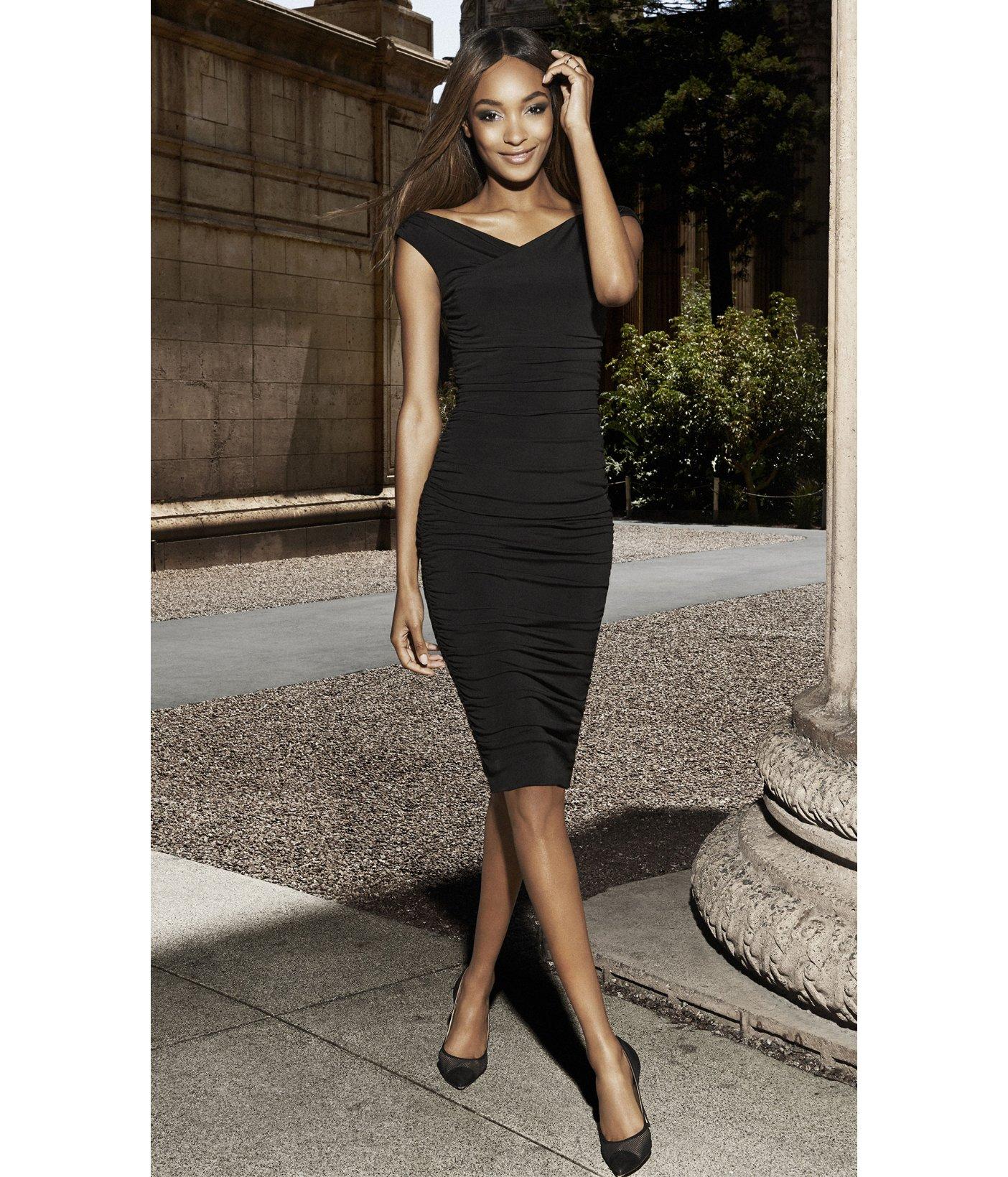 f4276458 Express Surplice Wrap Ruched Jersey Midi Dress - Black in Black - Lyst