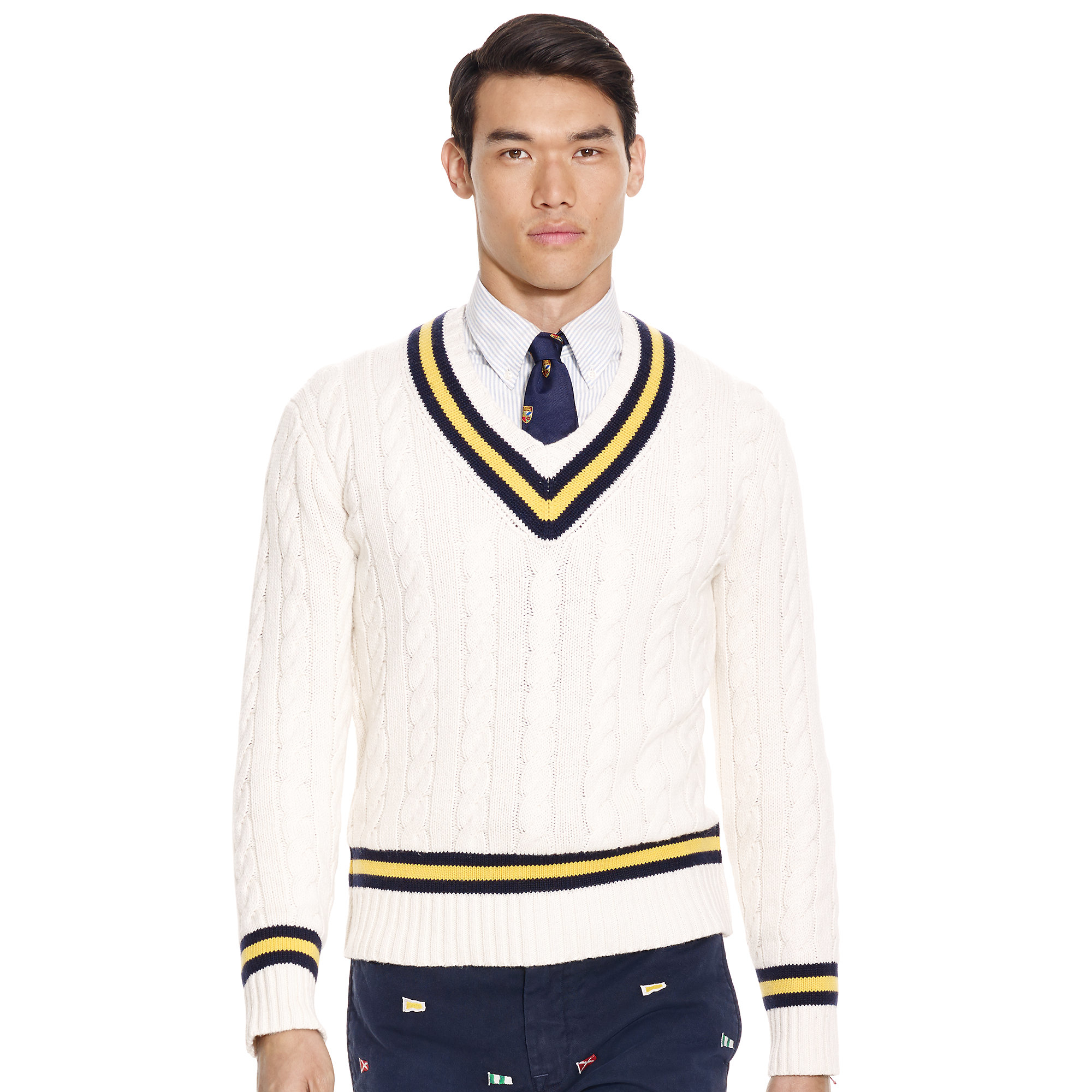 54071526b6cf6 ... discount code for lyst polo ralph lauren cotton blend cricket sweater  in white for men 60321