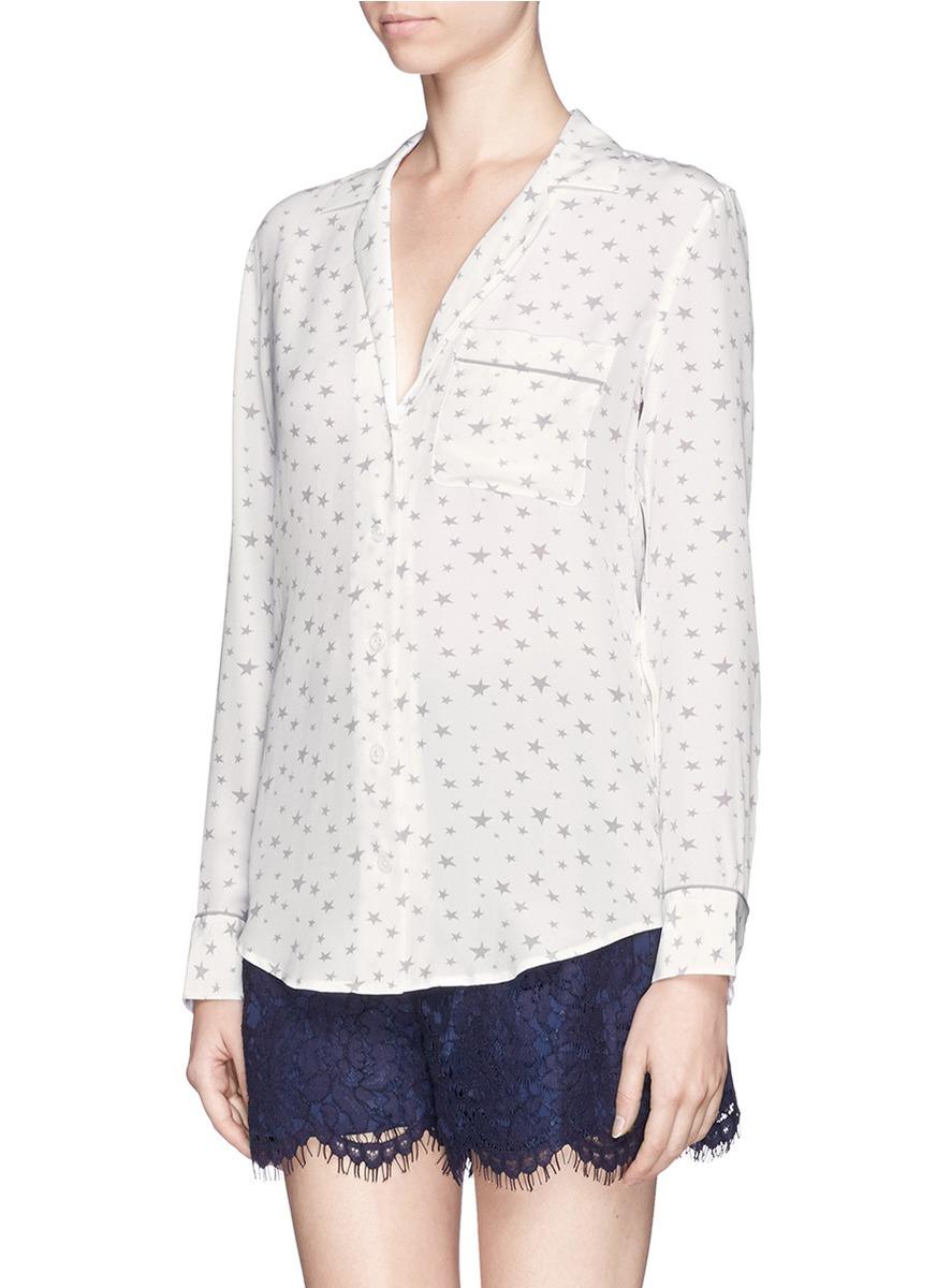 37cc042495327c Lyst - Equipment  keira  Star Print Silk Shirt in White