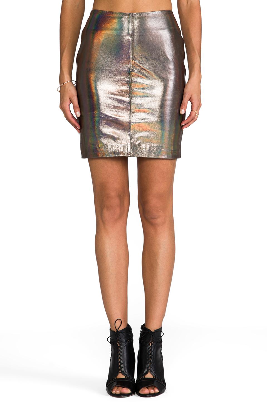 muubaa x revolve kowie leather skirt in metallic silver in