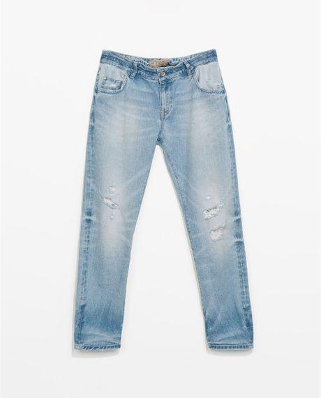 zara ripped boyfriend jeans in blue light blue lyst. Black Bedroom Furniture Sets. Home Design Ideas
