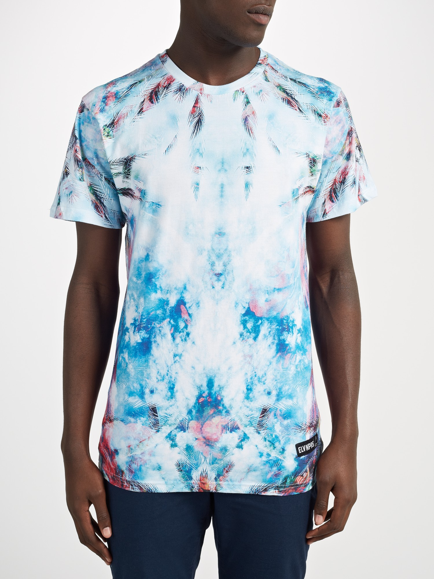 eleven paris ocean palm print t shirt in blue for men lyst. Black Bedroom Furniture Sets. Home Design Ideas