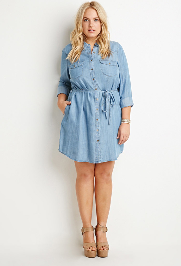 lyst forever 21 plus size belted chambray shirt dress