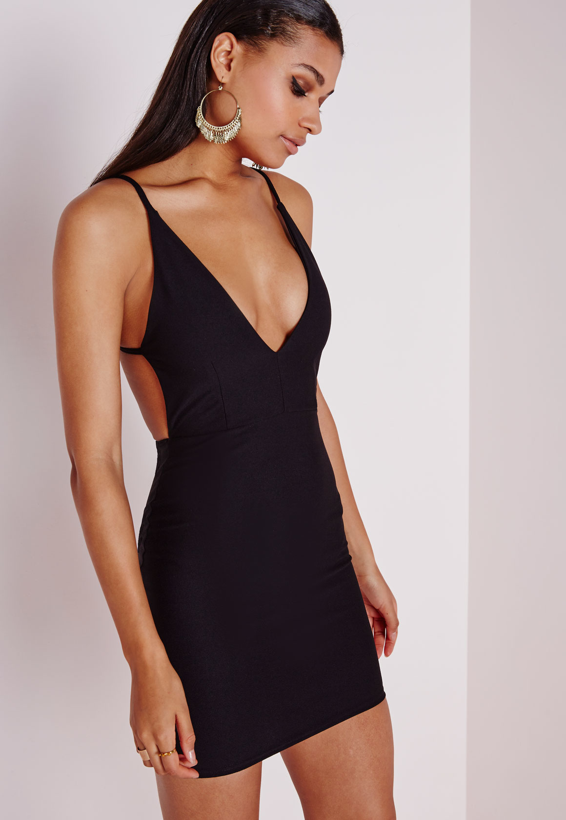 Lyst Missguided Crepe Extreme Plunge Strappy Bodycon