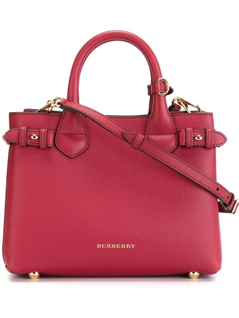 76fc4f7af4cf Burberry Banner Tote Small   Burberry banner small leather tote in red lyst