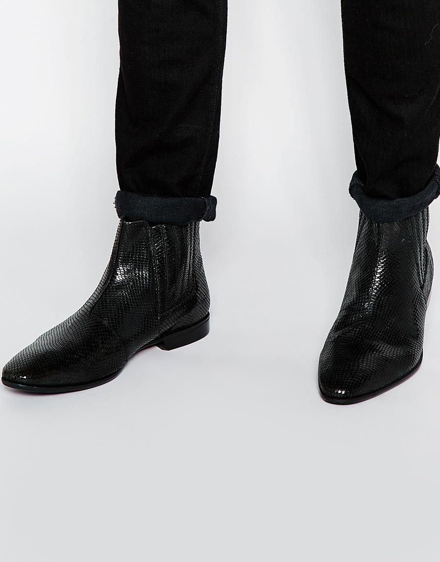 Asos Chelsea Boots In Black Leather With Snakeskin Effect in Black ...