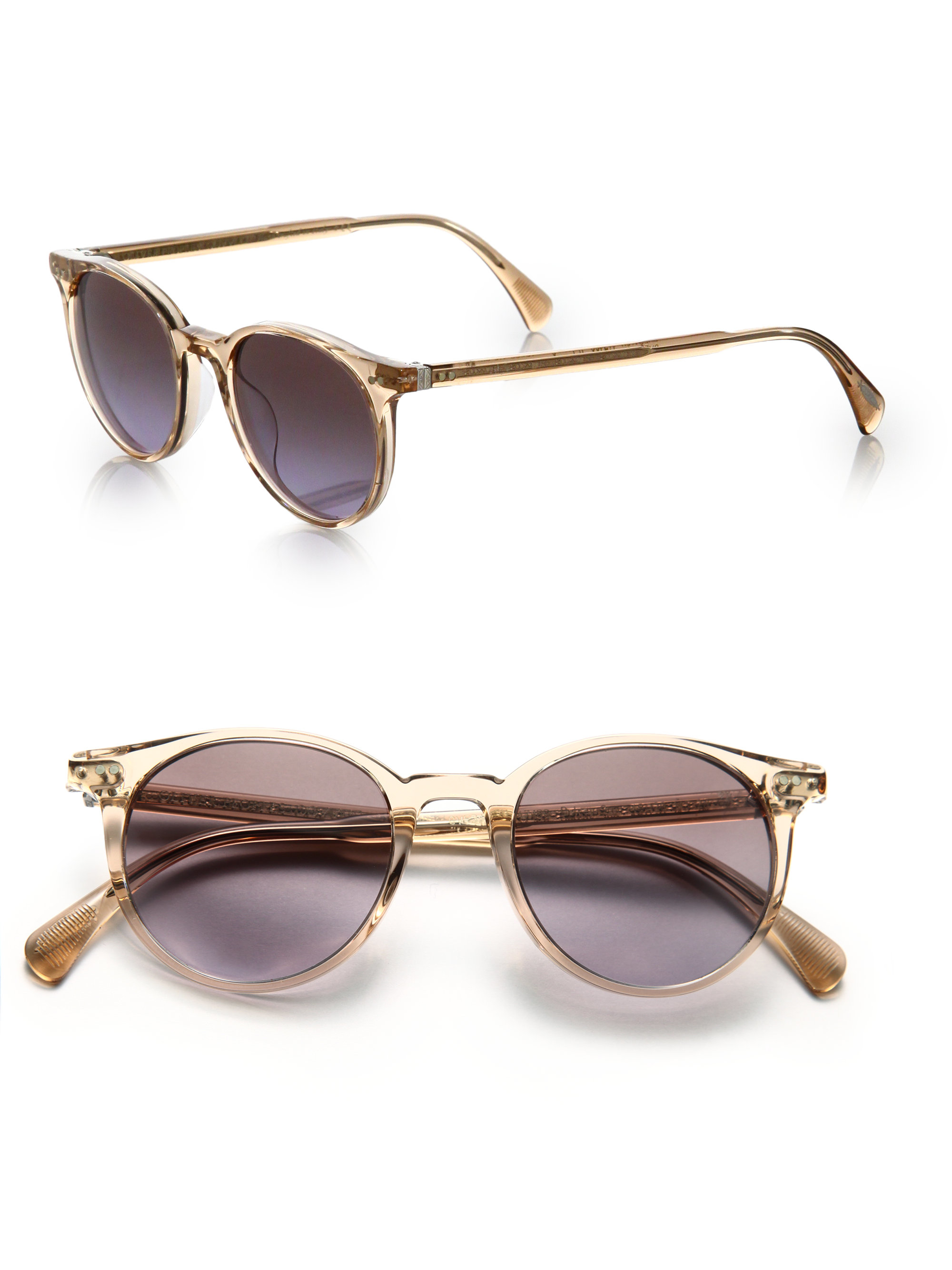 7cd627e35b Lyst - Oliver Peoples Delray 48mm Round Sunglasses in Metallic