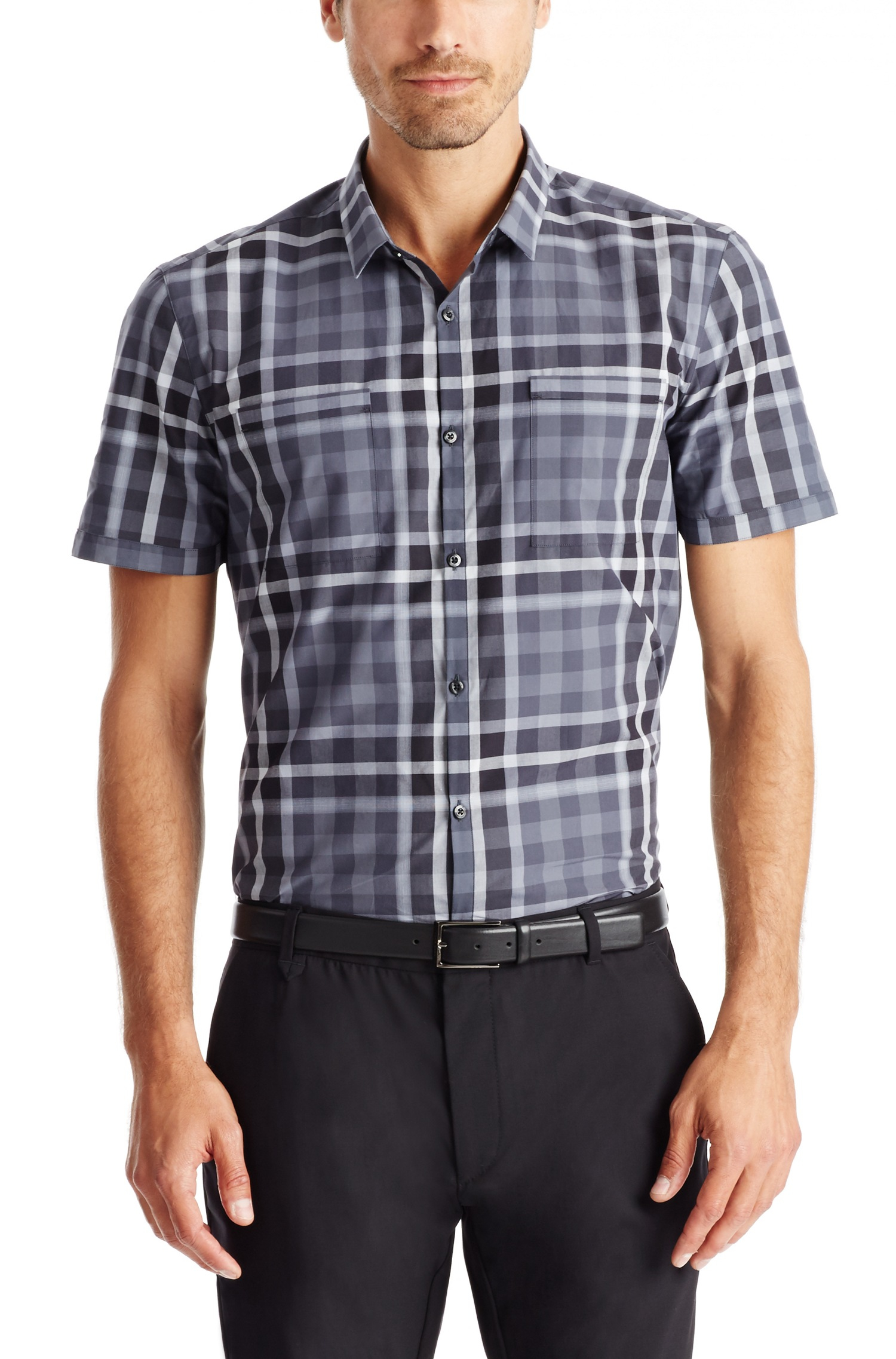 Lyst hugo 39 ettino 39 slim fit cotton plaid button down for Athletic fit button down shirts